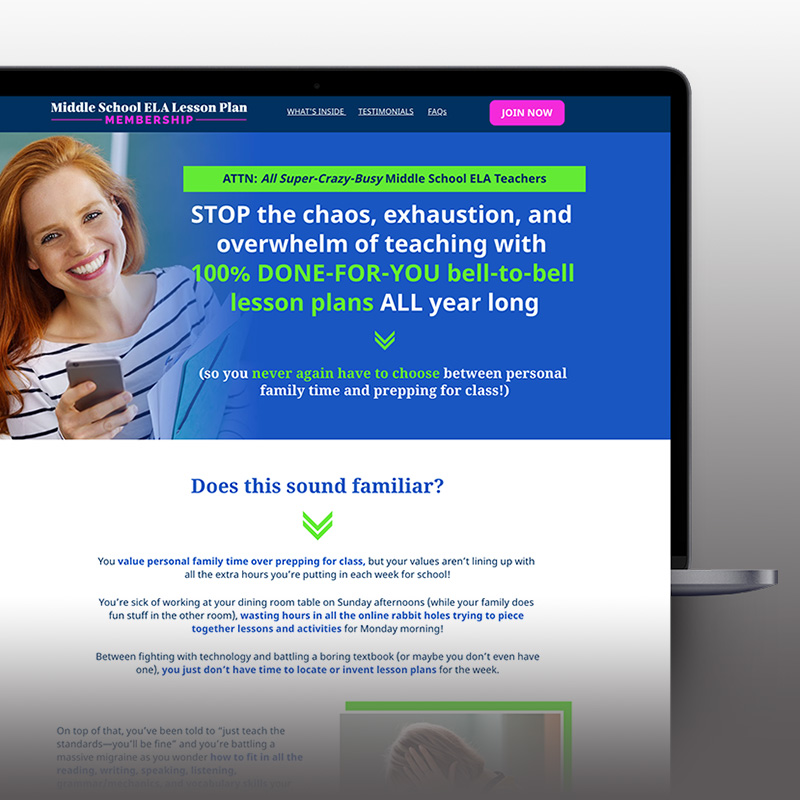 ELA Lesson Plan Membership Sales Page
