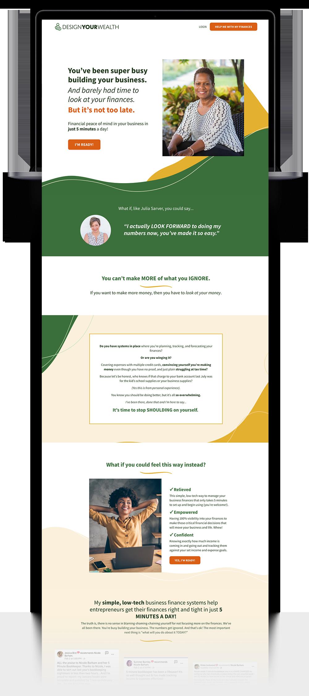 Nicole Barham Design Your Wealth Website